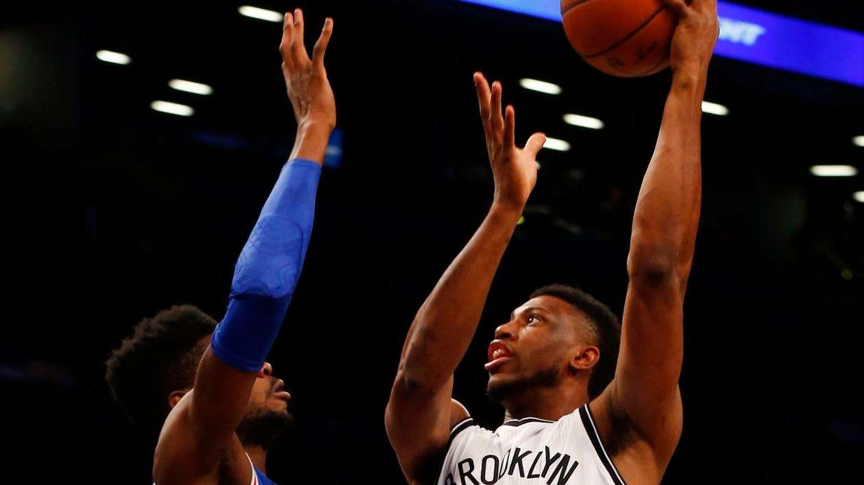 Thaddeus Young of the Nets puts up a
