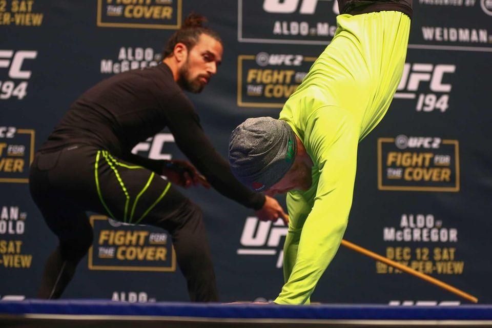 UFC interim featherweight champion Conor McGregor shows off