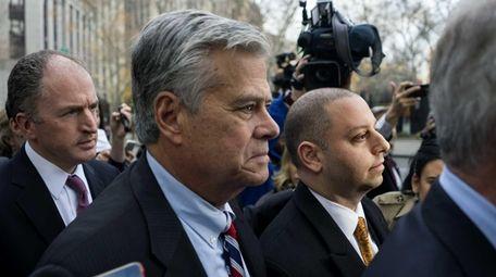 Dean and Adam Skelos outside Manhattan federal court