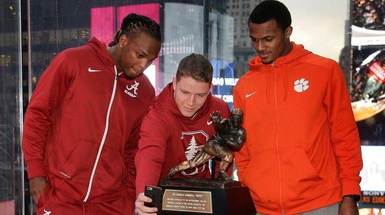 Heisman Trophy finalists, from left, Alabama's Derrick