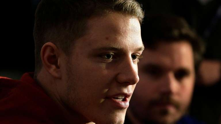 Stanford's Christian McCaffrey answers questions for the