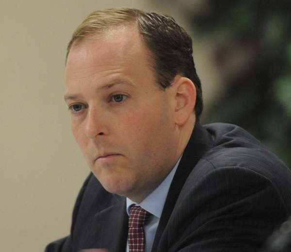 Rep. Lee Zeldin attends a meeting in