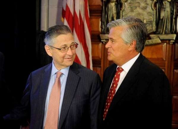 Assembly Speaker Sheldon Silver, D-Manhattan, left, and Senate