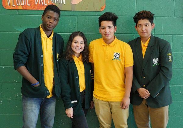 Wyandanch Memorial High School students, from left, Fabio