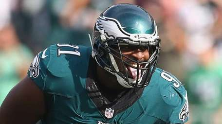 Fletcher Cox #91 of the Philadelphia Eagles reacts