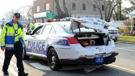 Photo of a damaged Suffolk County police cruiser