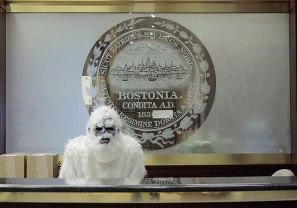 The Boston Yeti poses at City Hall