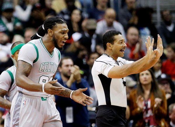 The Boston Celtics' Jae Crowder, left, argues with