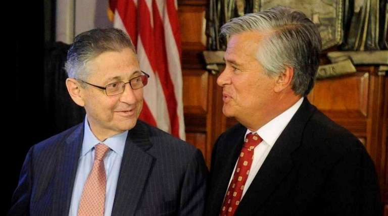 Former Assembly Speaker Sheldon Silver (D-Manhattan), left, and