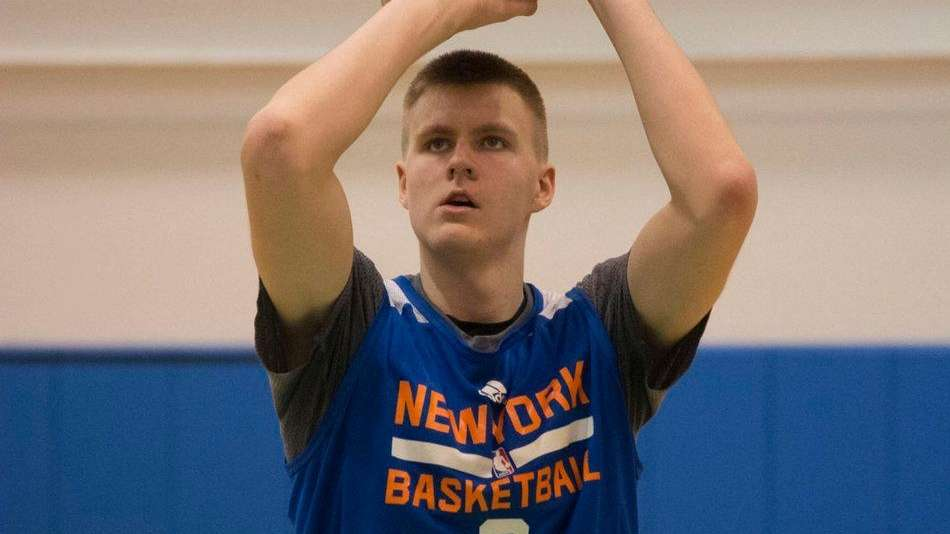 New York Knicks' Kristaps Porzingis works out and