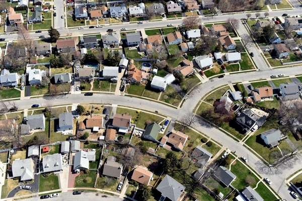Aerial views of homes in Levittown on April
