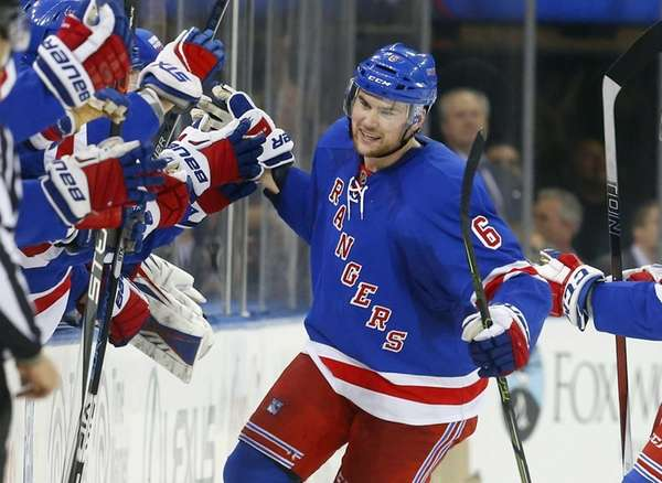 Dylan McIlrath of the New York Rangers celebrates