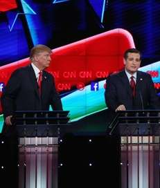 Republican presidential candidate U.S. Sen. Ted Cruz, center,