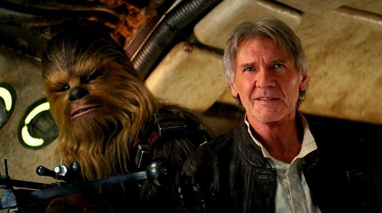 Chewbacca (Peter Mayhew) and Han Solo (Harrison Ford),