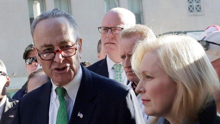 Sen. Charles Schumer, D-NY, center, Sen. Kirsten Gillebrand,
