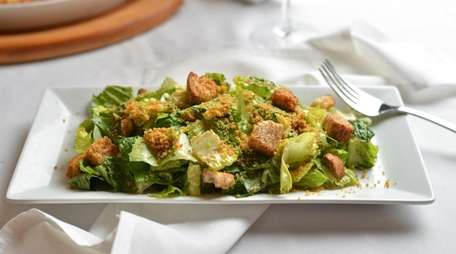 Classic Caesar salad with romaine, cashew Parmesan and