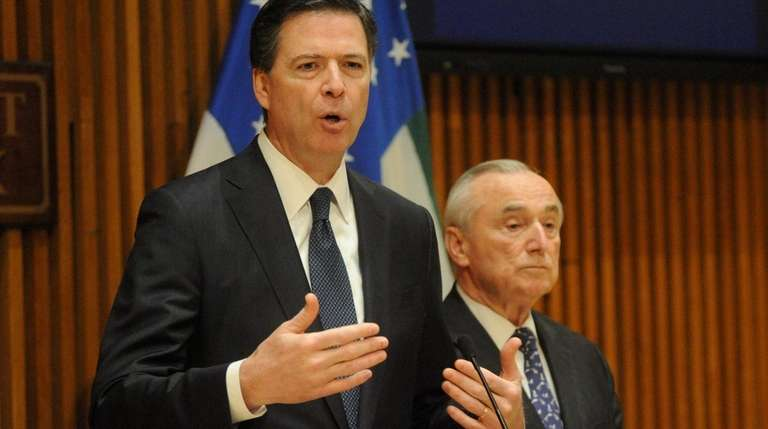 FBI Director James B. Comey, left, and NYPD