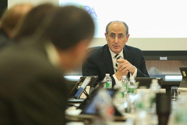 LIPA Board of Trustees chairman Ralph Suozzi looks