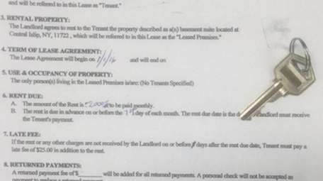 This fake rental agreement and key were used