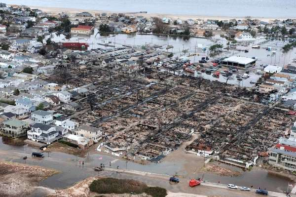 An aerial view shows devastation in a Breezy