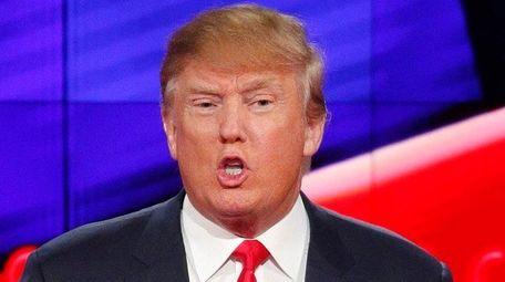 Donald Trump speaks during the CNN Republican