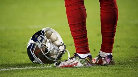 A detailed view of the cleats worn