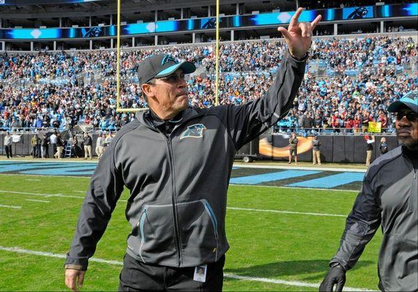 Carolina Panthers head coach Ron Rivera gives