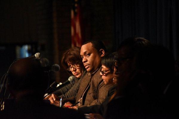 Hempstead School District Superintendent Susan Johnson, center, speaks