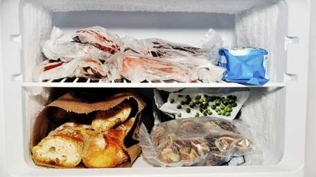 Food in a freezer.