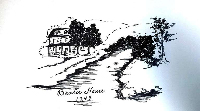 A sketch dated 1743 of the Baxter House.