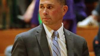 Brentwood head coach Anthony Jimenez watches from the