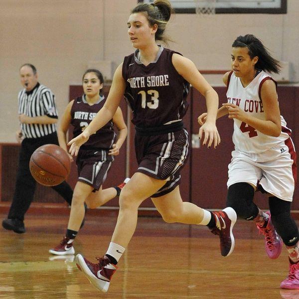 Gabrielle Zaffiro #13 of North Shore dribbles downcourt