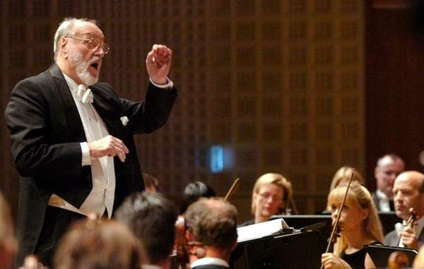 German conductor Kurt Masur conducts the London Philharmonic