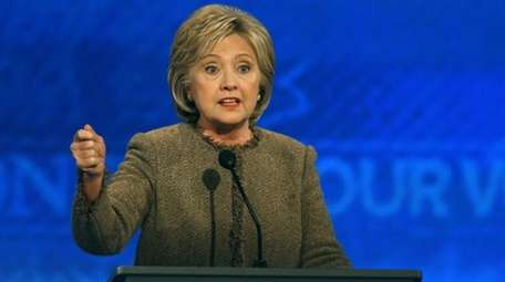 Hillary Rodham Clinton speaks during a Democratic presidential