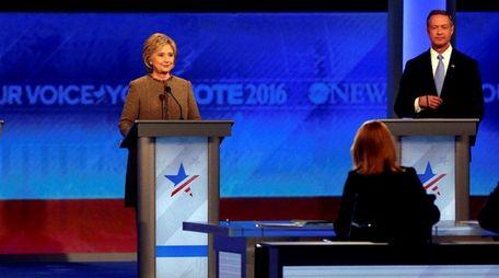 Bernie Sanders, left, Hillary Rodham Clinton, center, and