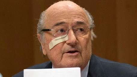Suspended FIFA President Sepp Blatter answers to questions