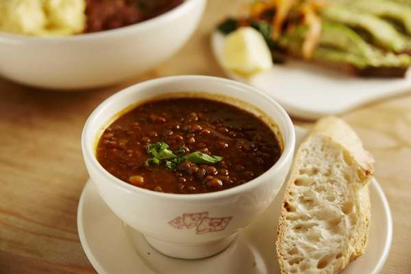 Lentil soup is served at Le Pain Quotidien