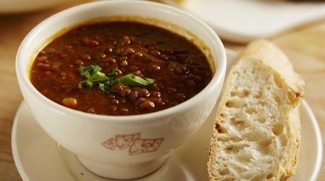 Lentil soup is served at Le Pain Quotidien