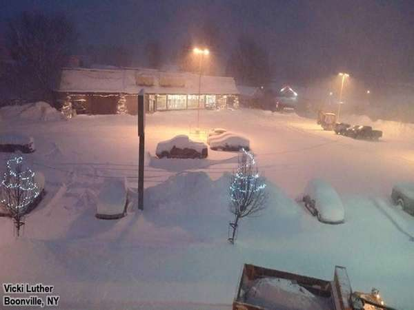 The snowis falling in Boonville, NY in the