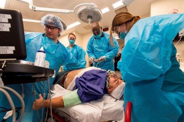 A medical team demonstrates Winthrop-University Hospital's new trauma
