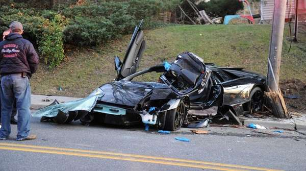 The wreckage of a Lamborghini after it crashed