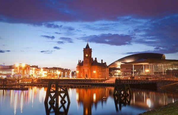 The night illuminations off Cardiff Bay dance around