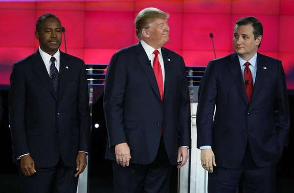 Republican presidential candidates Ben Carson, Donald Trump and