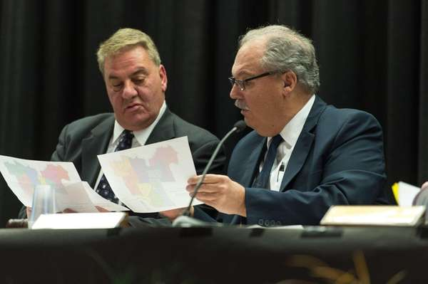 Michael Timo, left, and Sachem School Board President