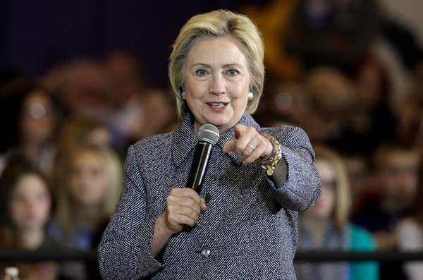 Democratic presidential candidate Hillary Clinton speaks during
