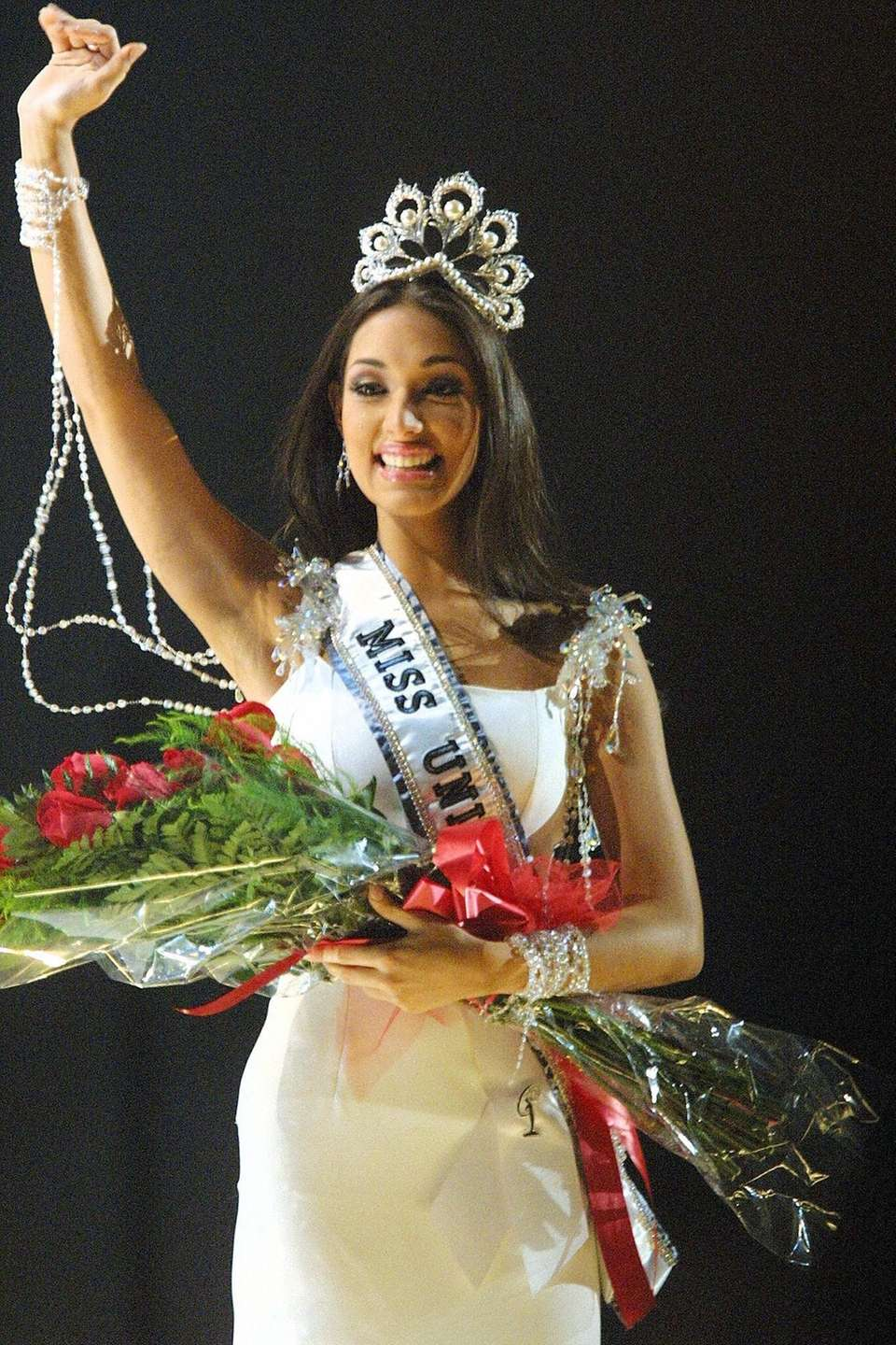 Miss Dominican Republic Amelia Vega smiles after being