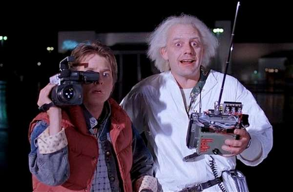 Michael J. Fox, left, is Marty McFly and