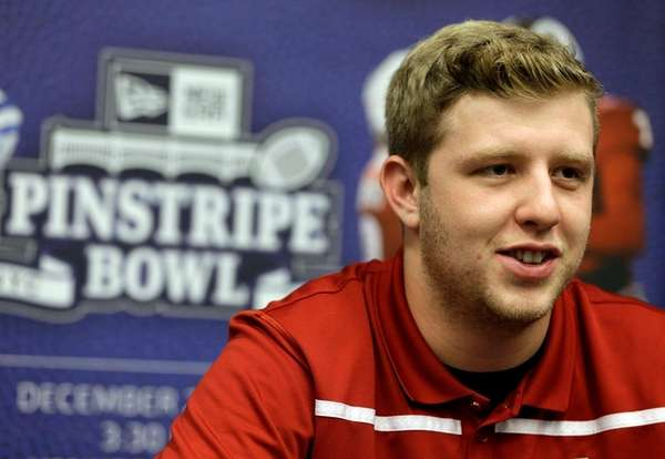 Indiana quarterback Nate Sudfeld talks to reporters during