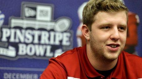 Indiana quarterback Nate Sudfeld talks to reporters during