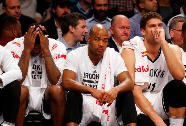 Joe Johnson, Jarrett Jack and Brook Lopez of